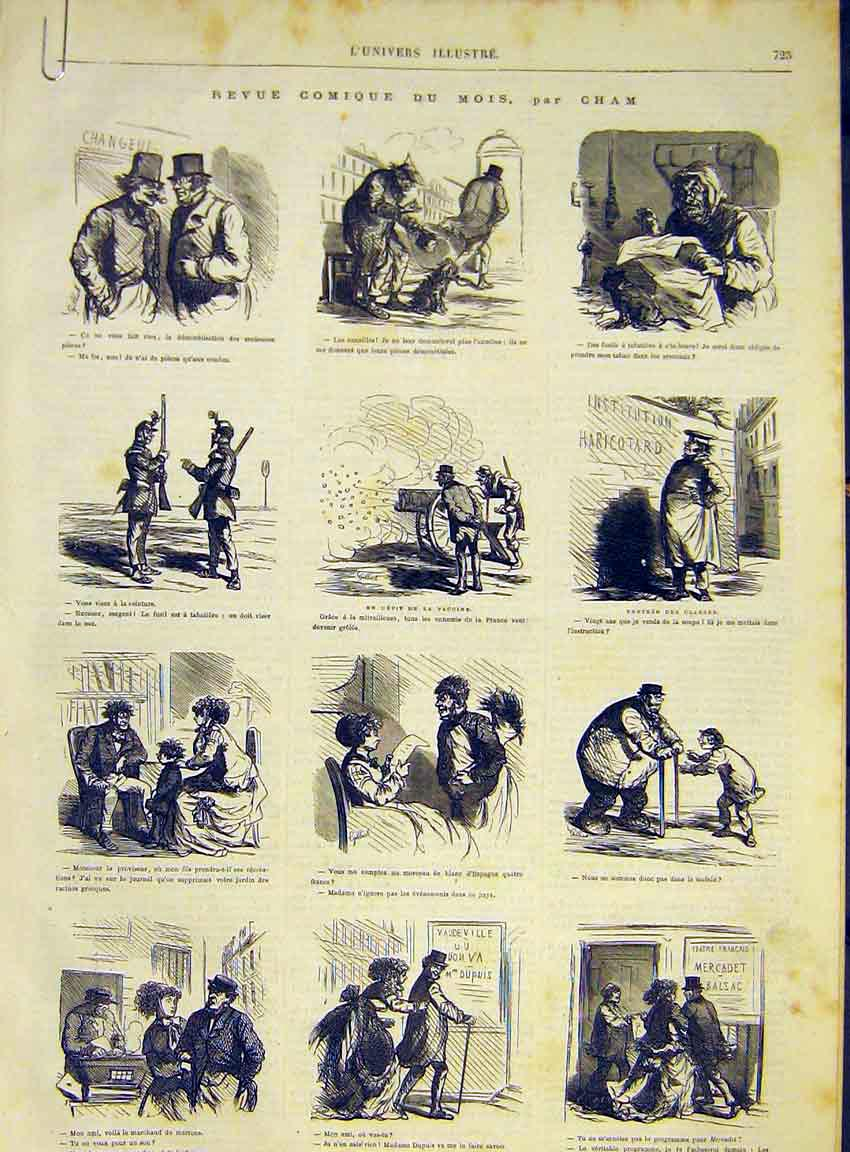 Print Comic Sketches Cham Medical Theatre French 1868 25Alun1 Old Original