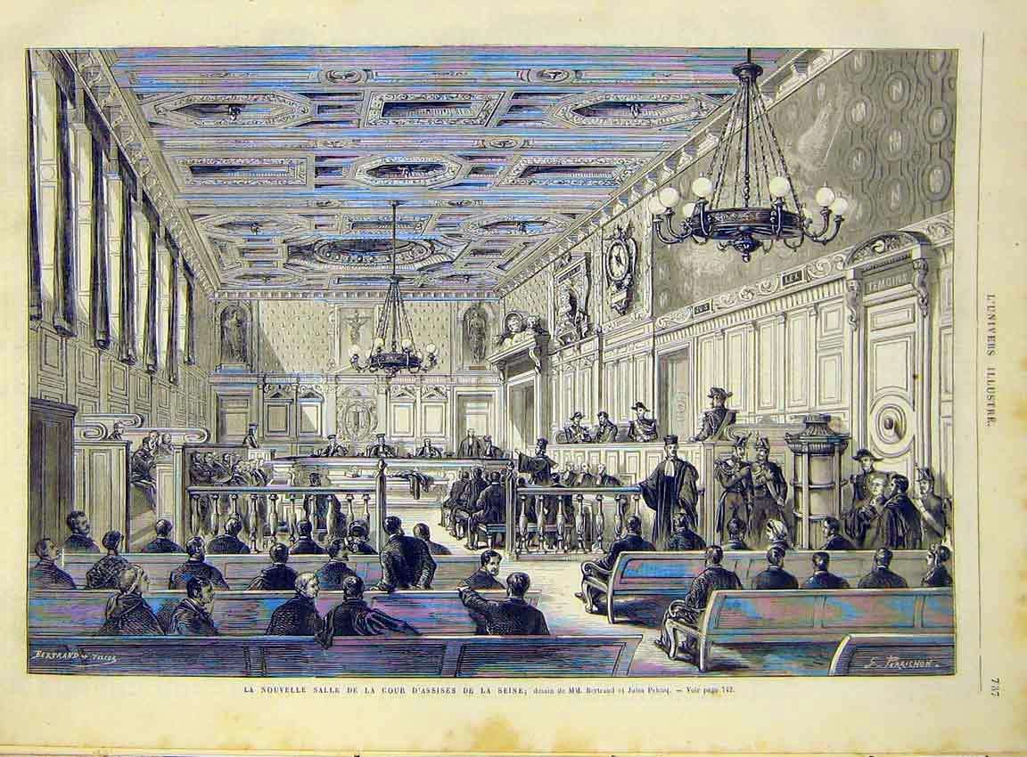 Print Assises Seine Court Bertrand French 1868 Paris 37Lun1 Old Original