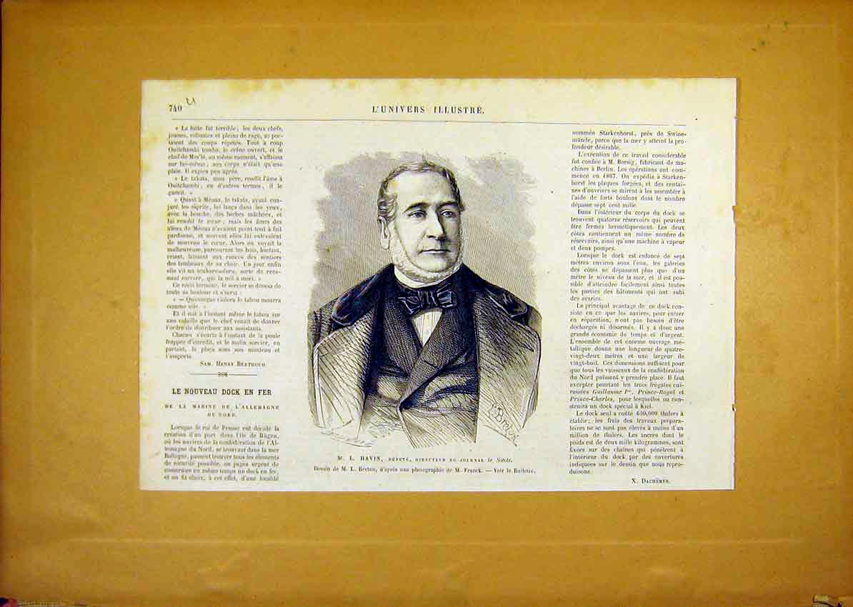 Print Portrait Havin Siecle French 1868 40Ulun1 Old Original