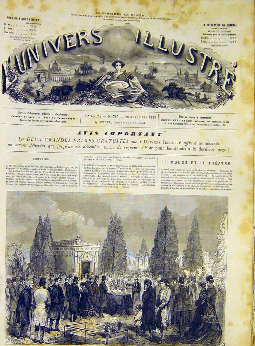 Print Funeral Rothschild Cemetery Isidor Pere-Lachaise 1868 46Lun1 Old Original