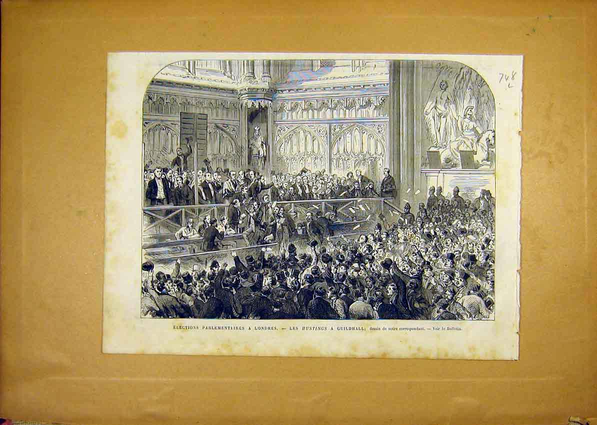 Print Elections Parliament London Guildhall Hustings 1868 48Llun1 Old Original