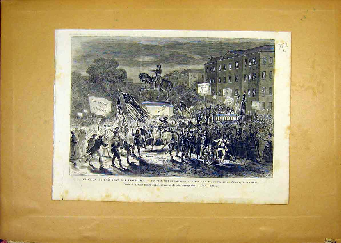 Print Election United States President Grant New York 1868 53Llun1 Old Original