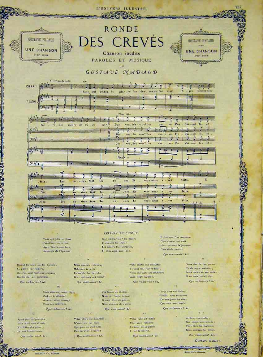 Print Music Chanson Des Creves Nadaud Song French 1868 57Lun1 Old Original