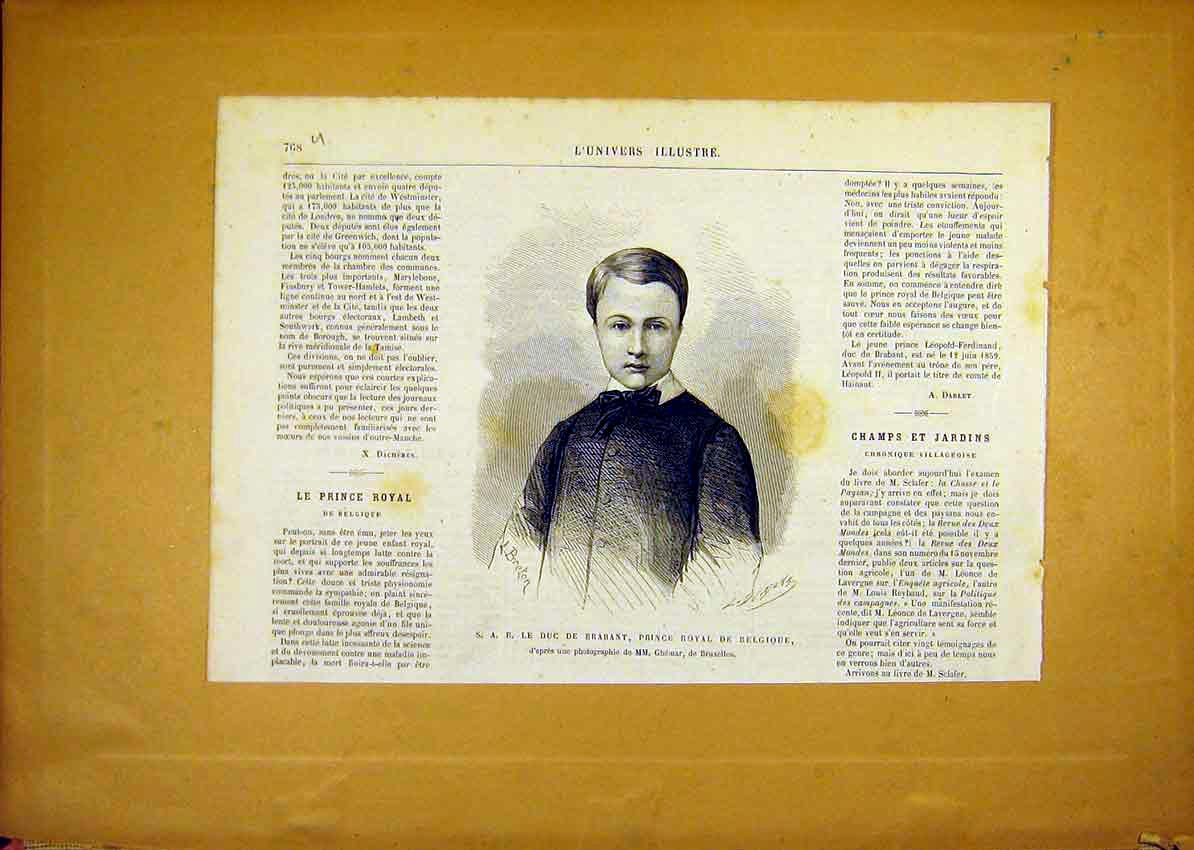 Print Portrait Brabant Prince Royal Belgium French 1868 68Ulun1 Old Original