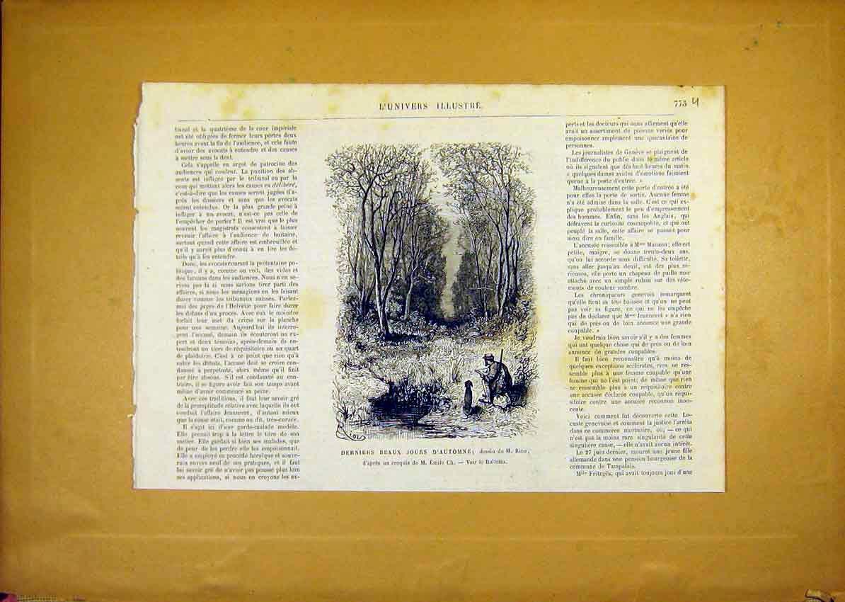 Print Autumn Artist Forest Sketch French 1868 73Ulun1 Old Original