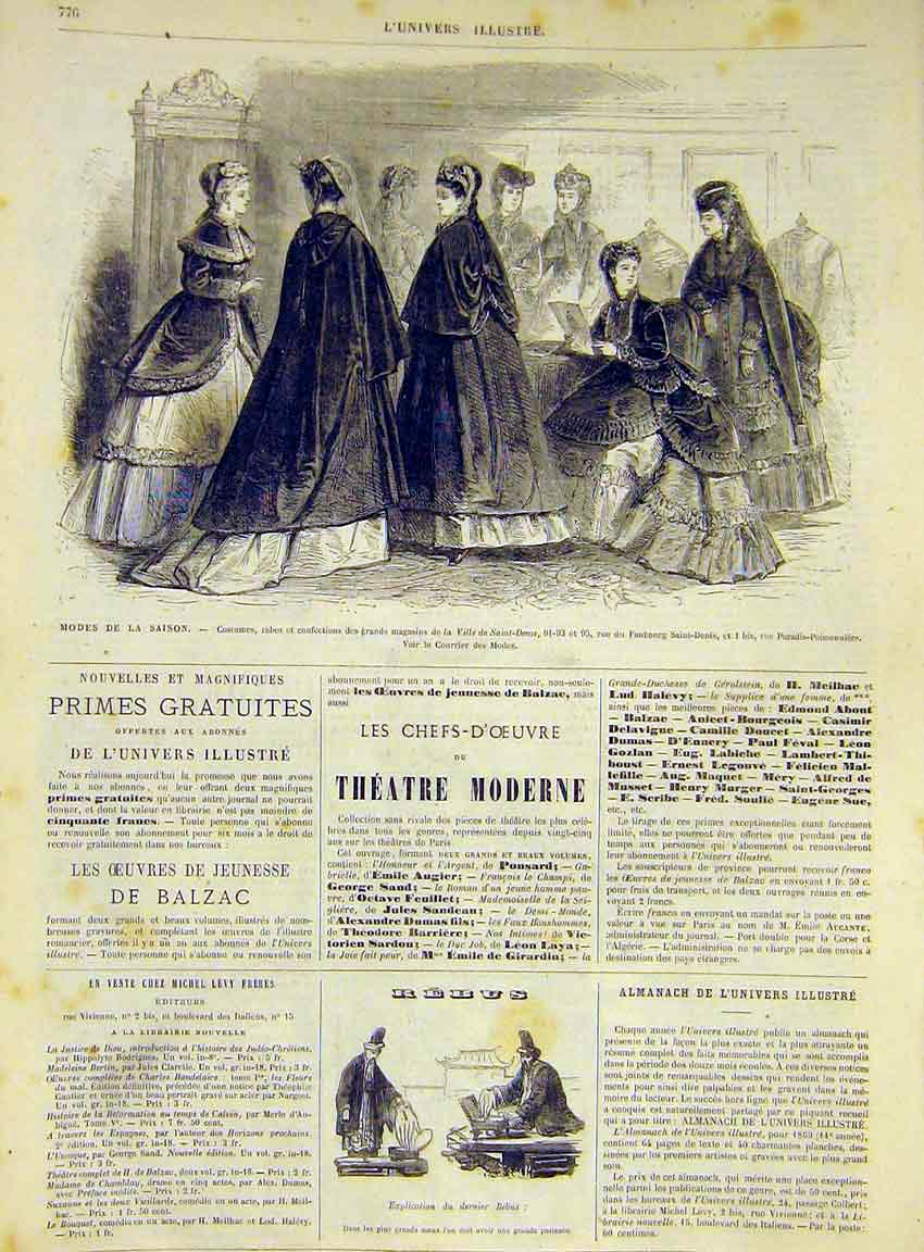 Print Fashion Ladies Season Paris Ville Saint-Denis 1868 76Lun1 Old Original