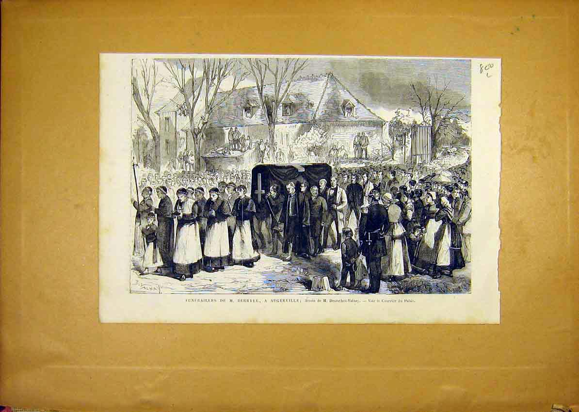 Print Funeral Berryer Augerville French 1868 00Llun1 Old Original