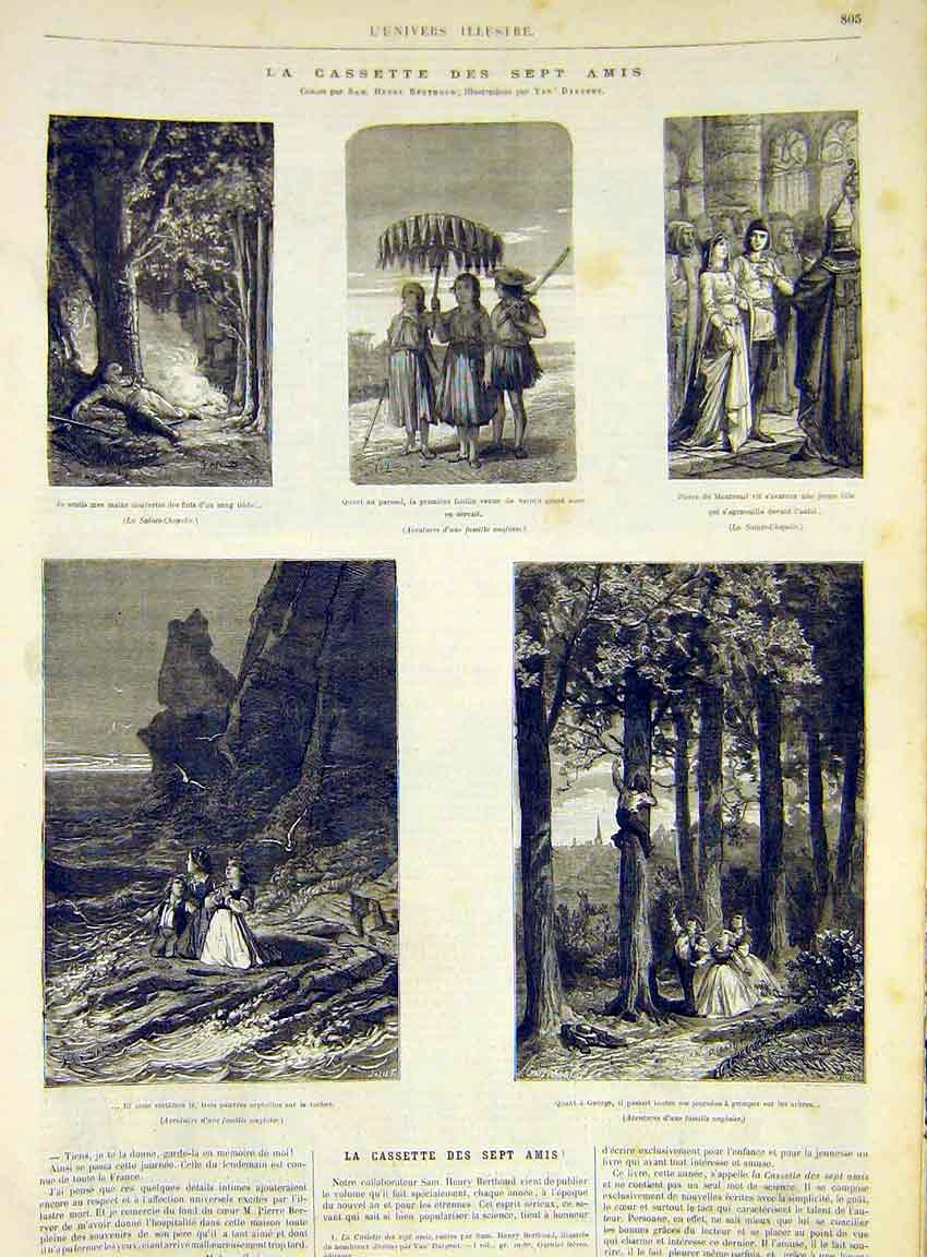 Print Friends Sketches Fine Art French 1868 Cassette 05Lun1 Old Original