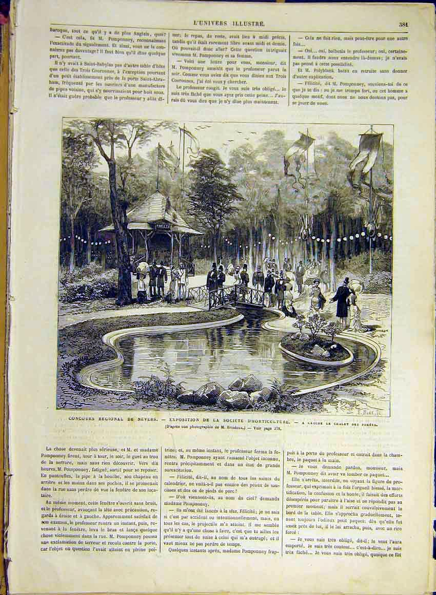 Print Nevers Horticultural Society Forest Chalet 1880 81Lun1 Old Original