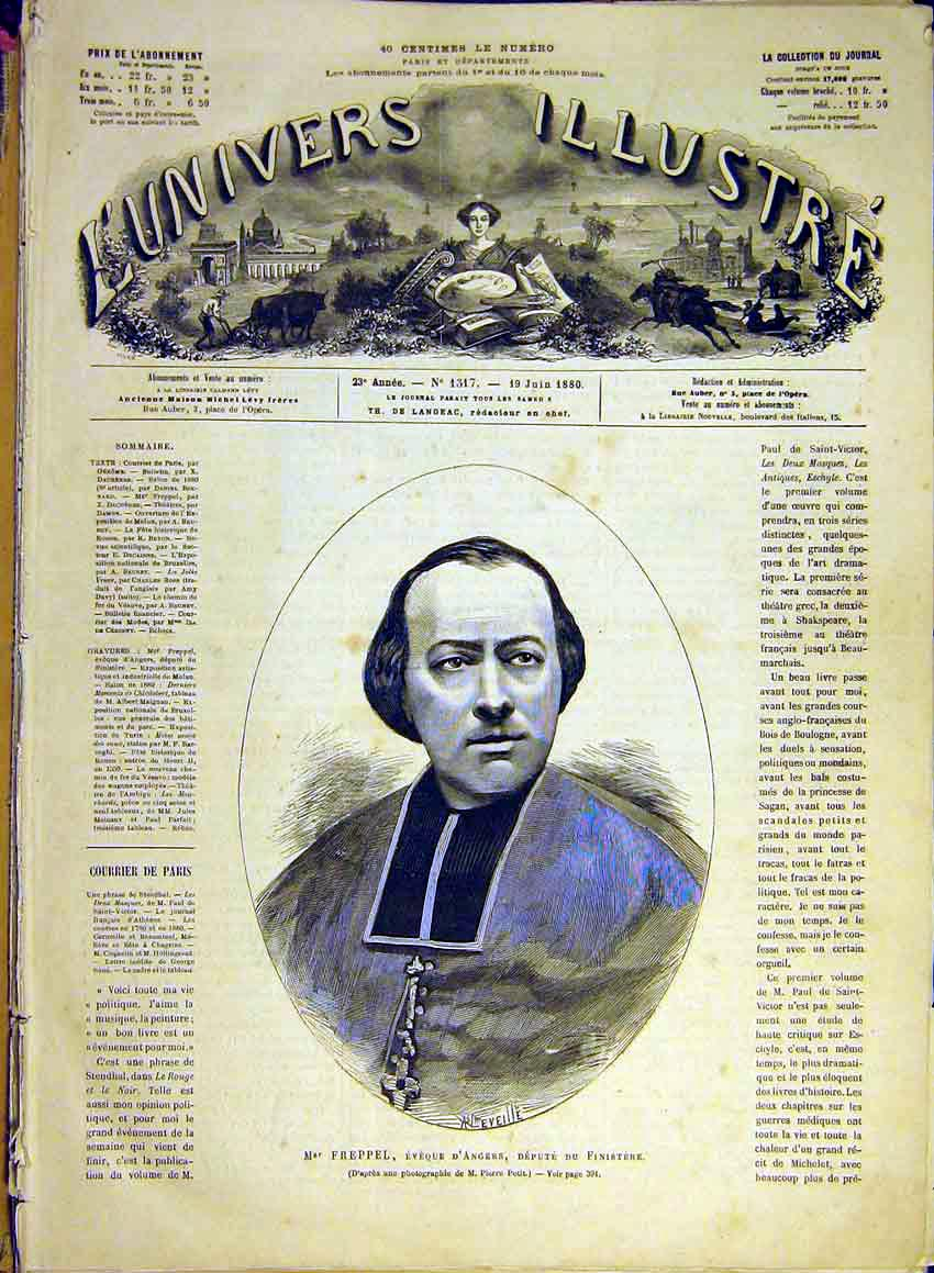Print Portrait Freppel Angers Religious French 1880 86Lun1 Old Original