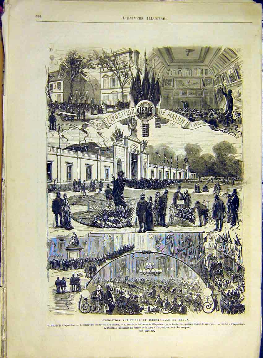 Print Industrial Exhibition Melun French 1880 88Lun1 Old Original