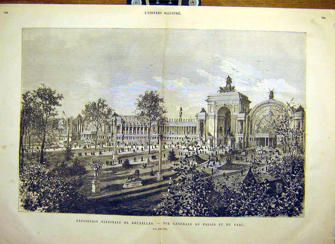 Print Brussels Palace Park View Belgium Building 1880 91Tlun1 Old Original