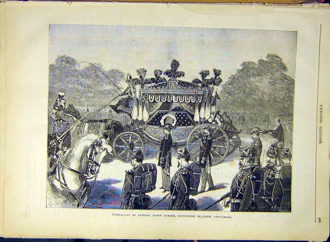 Print Funereal Aymard Governor Paris France French 1880 09Lun1 Old Original