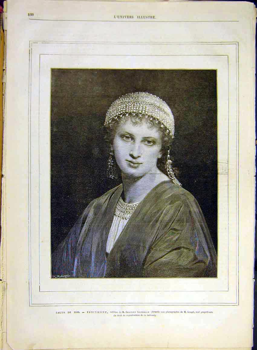 Print Portrait Venetian Lady Landelle French 1880 20Lun1 Old Original