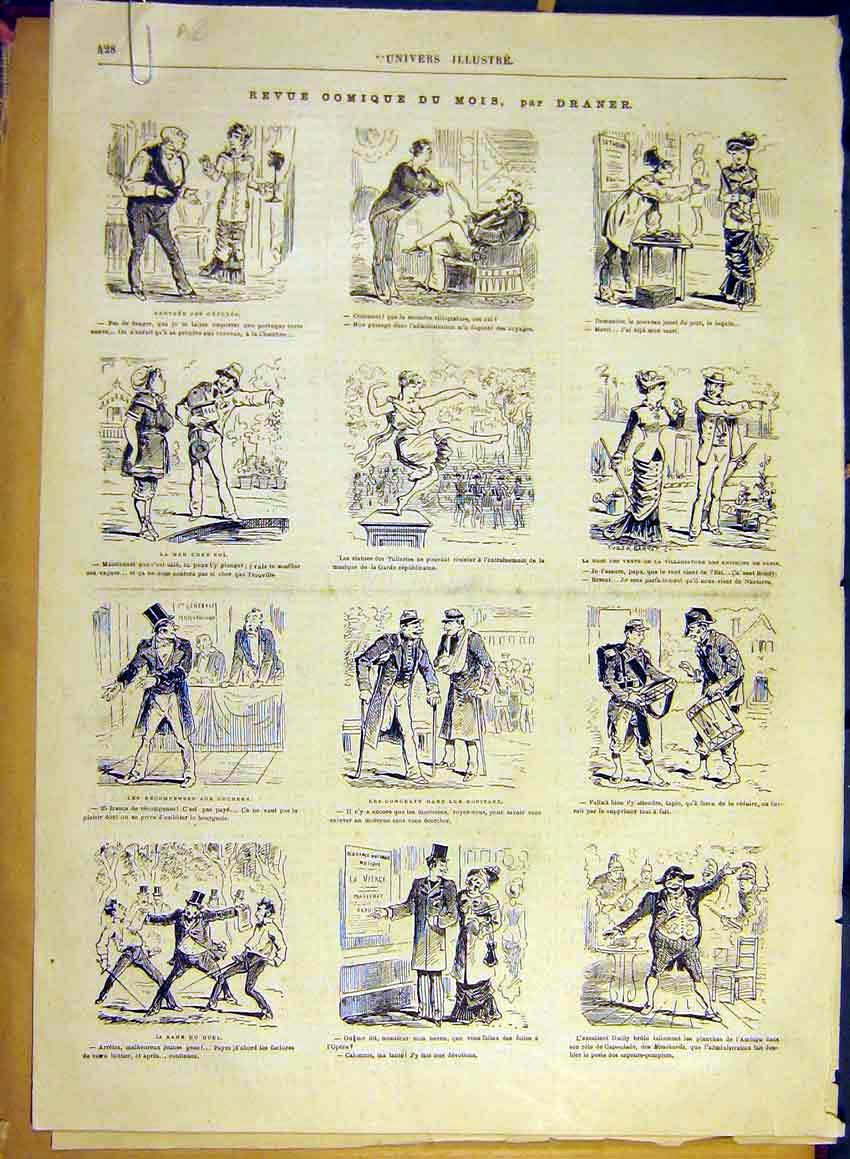 Print Comic Review Draner Sketches Lady Vote Fashion 1880 28Alun1 Old Original