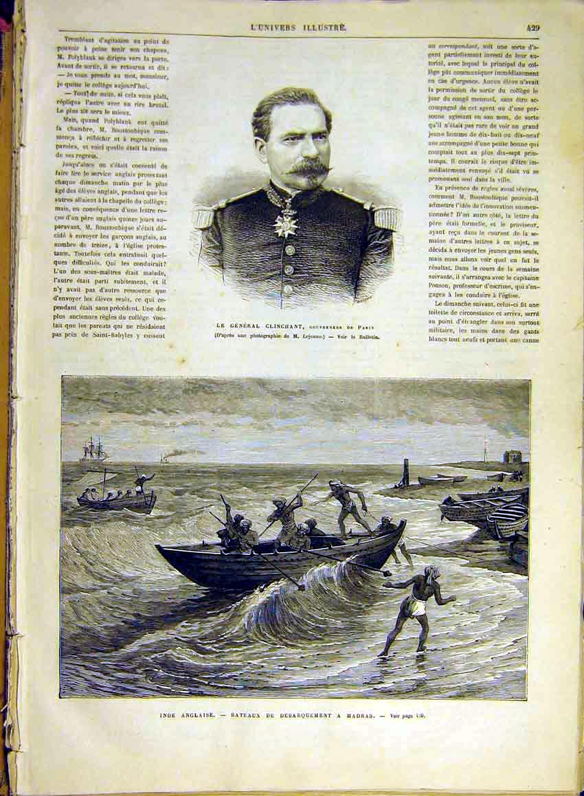 Print Clinchant Governor Paris Indian Madras Boat 1880 29Lun1 Old Original