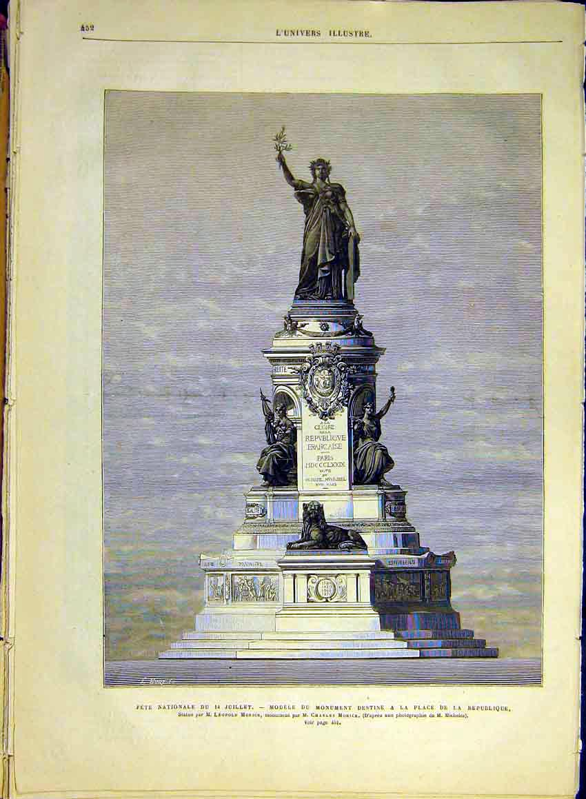 Print Morice Statue Place Republique Paris France 1880 52Lun1 Old Original