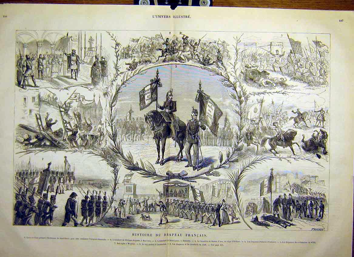 Print French Flag History Paris Orleans Fontenoy 1880 55Tlun1 Old Original
