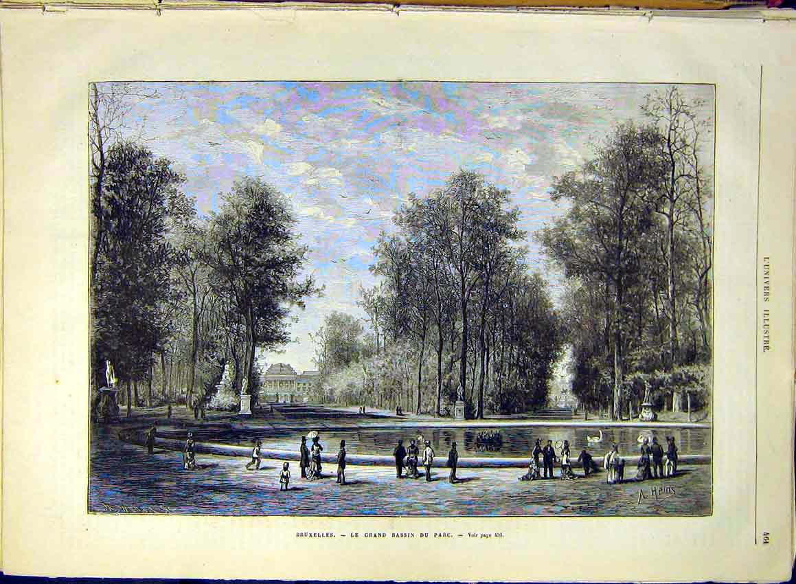 Print Brussels Belgium Pond French 1880 61Lun1 Old Original