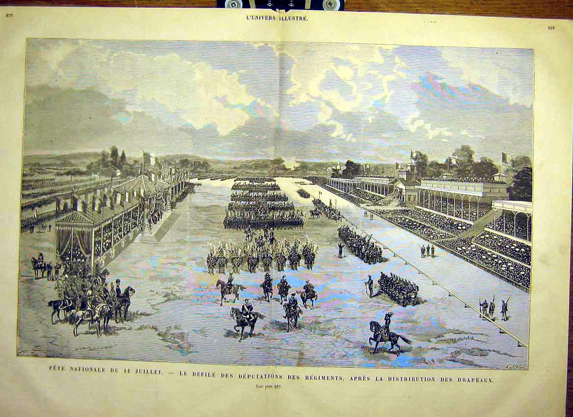 Print National Fete Defile Regiments Flag French 1880 71Tlun1 Old Original