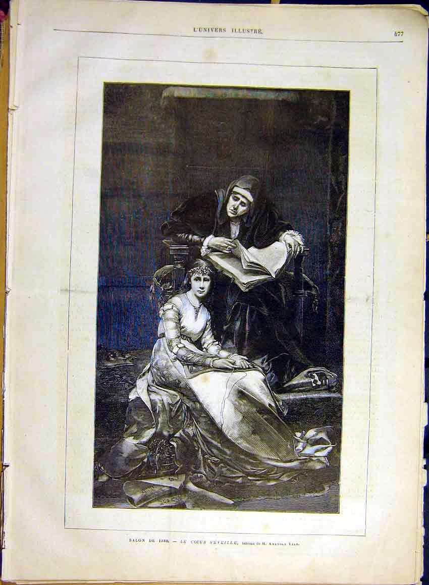 Print Fine Art Coeur S'Eveille Vely Lady French 1880 77Lun1 Old Original