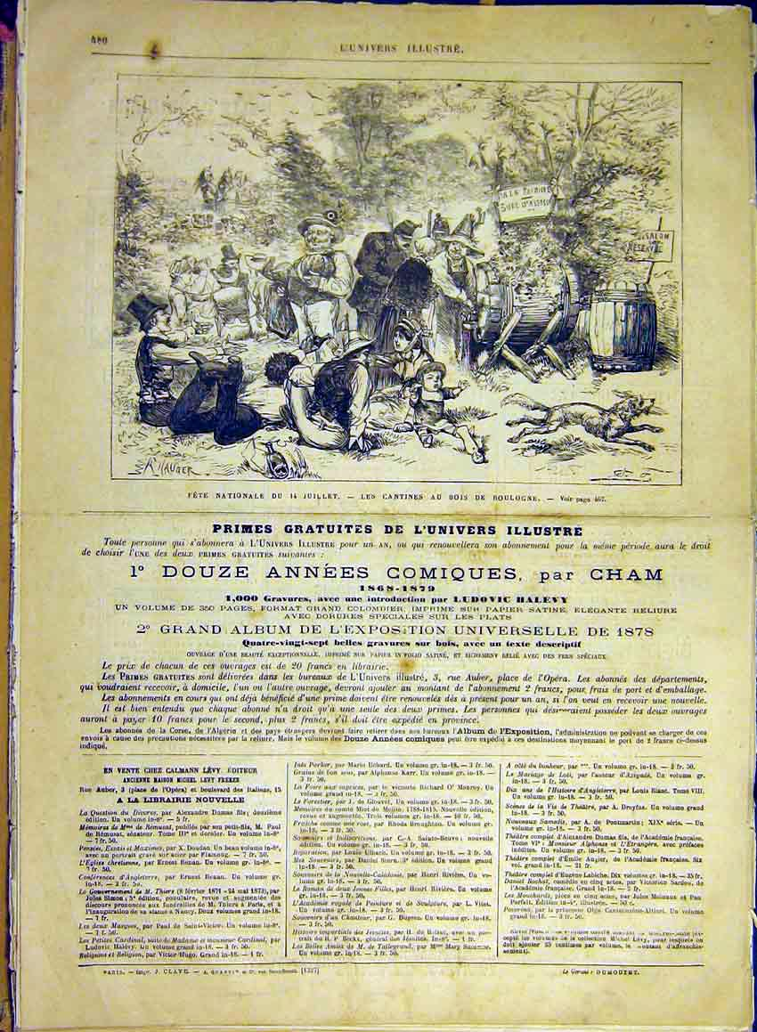 Print National Fete Cantine Refreshments Boulogne 1880 80Lun1 Old Original