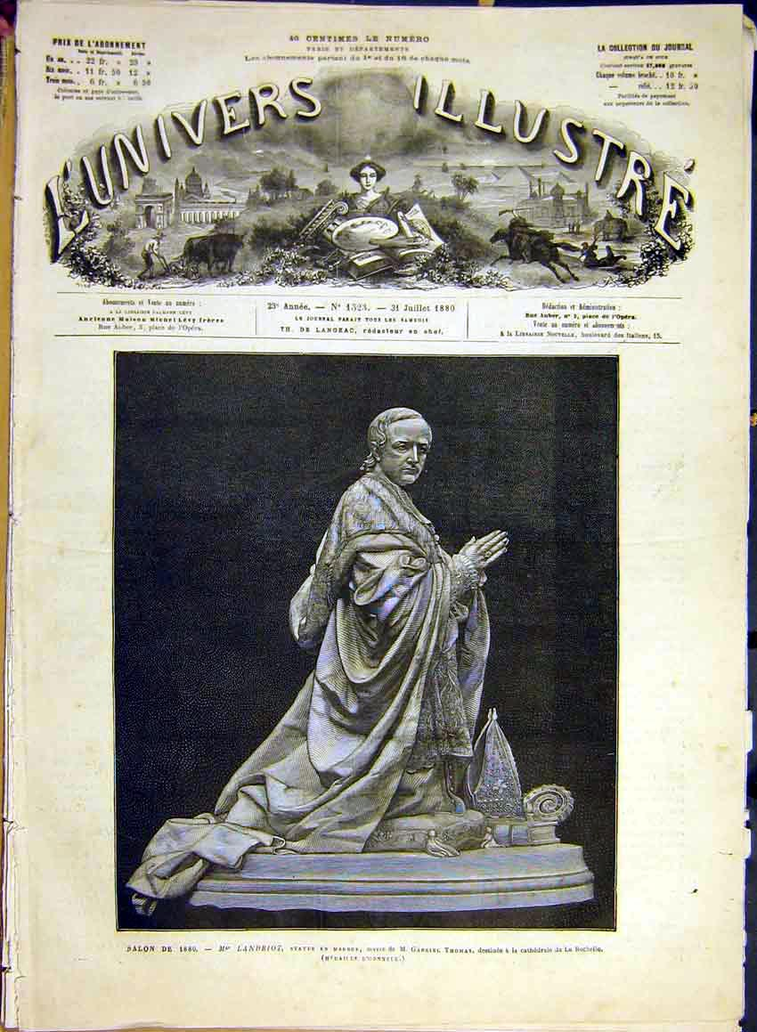 Print Statue Landriot Marble Thomas Rochelle Cathedral 1880 82Lun1 Old Original
