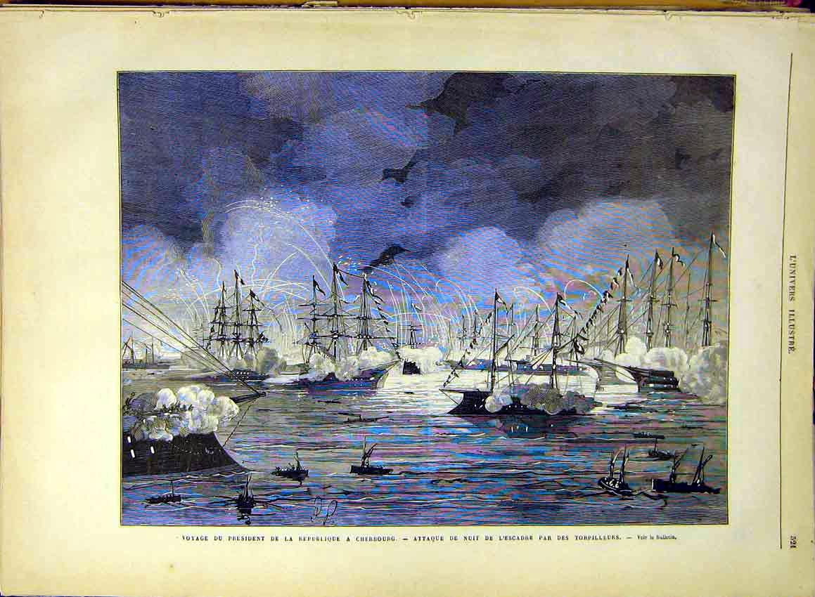 Print President Cherbourg Torpedoes Battle French 1880 21Lun1 Old Original