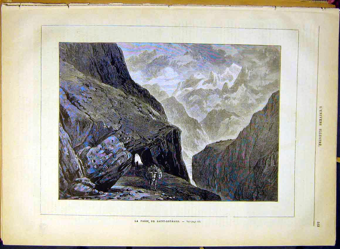 Print Saint-Gothard Mountain Pass View French 1880 33Lun1 Old Original