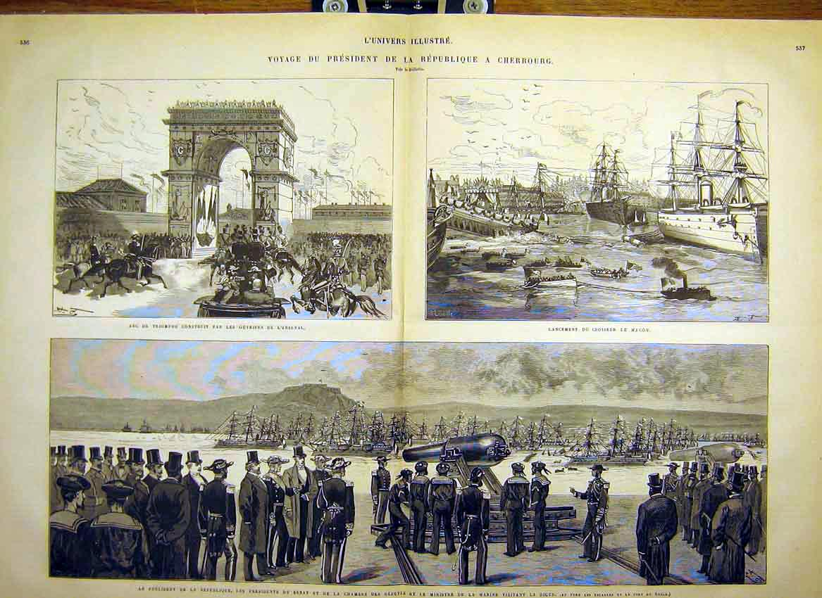 Print Cherbourg President Magon Navy Arsenal Dock 1880 35Tlun1 Old Original