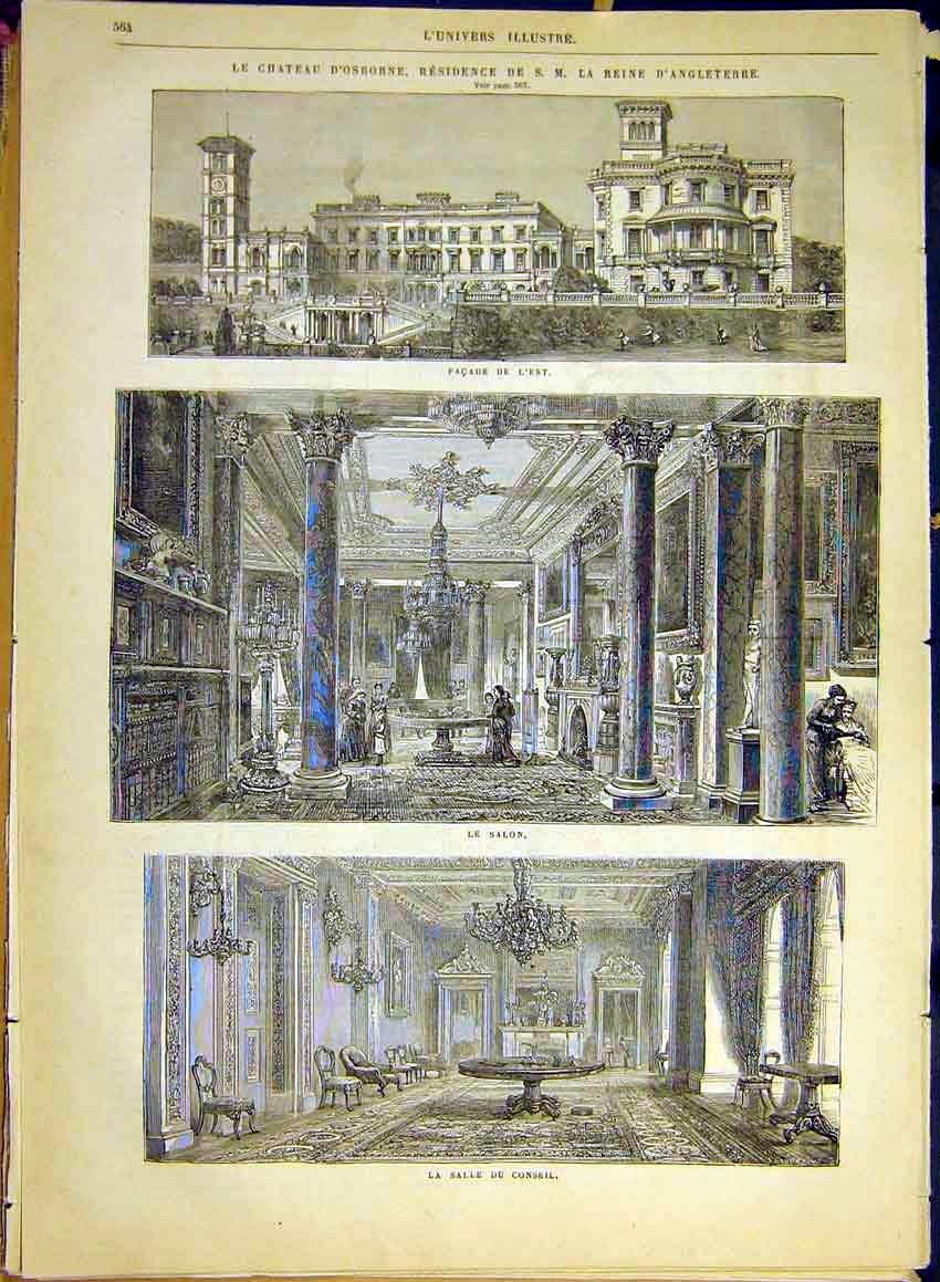 Print Castle Osborne Palace Building Architecture 1880 64Lun1 Old Original