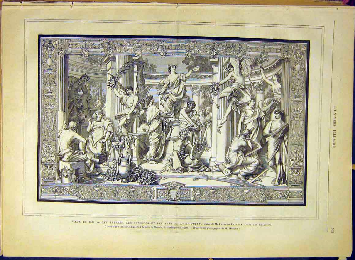 Print Tapestry Letters Sciences Arts Antiquities Ehrmann 1880 65Lun1 Old Original