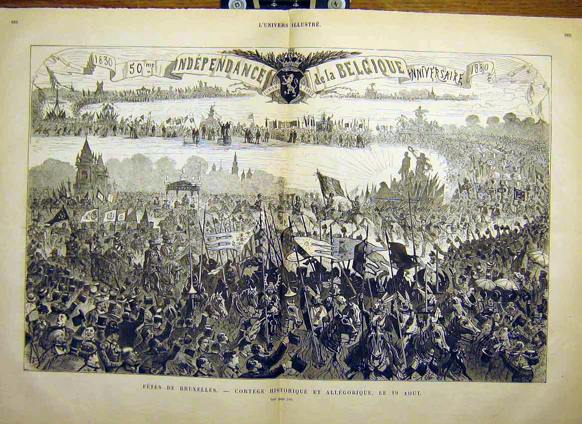 Print Belgium Brussels Fete Historical Procession 1880 67Tlun1 Old Original