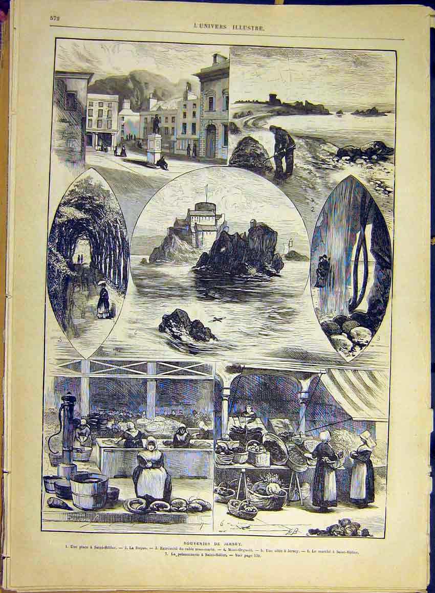 Print Jersey Sketches Saint-Helier Orgueil French 1880 72Lun1 Old Original