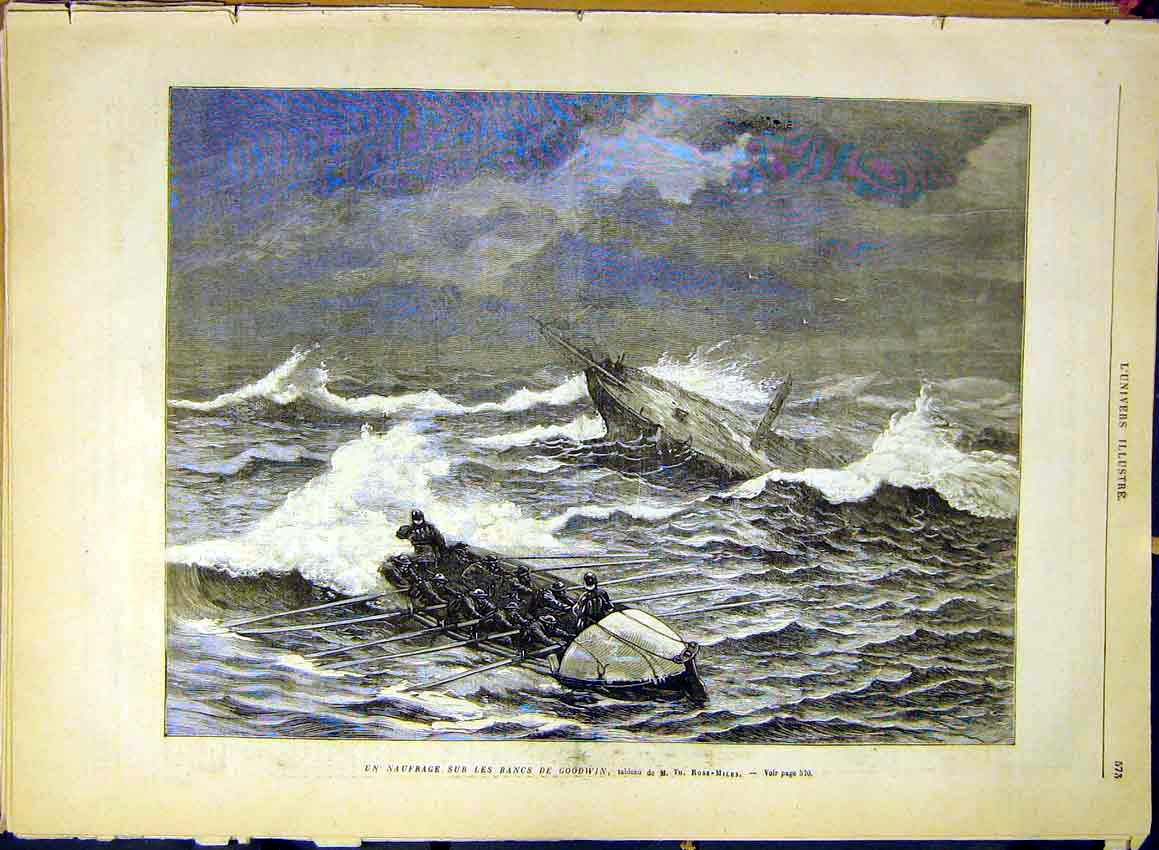 Print Ship Wreck Goodwin Rose-Miles Fine Art 1880 73Lun1 Old Original