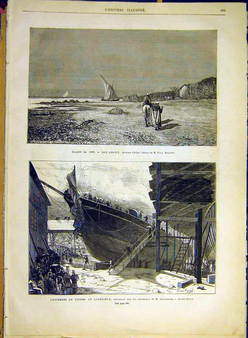 Print Fine Art Alger Vallois Claparede Ship-Building 1880 85Lun1 Old Original