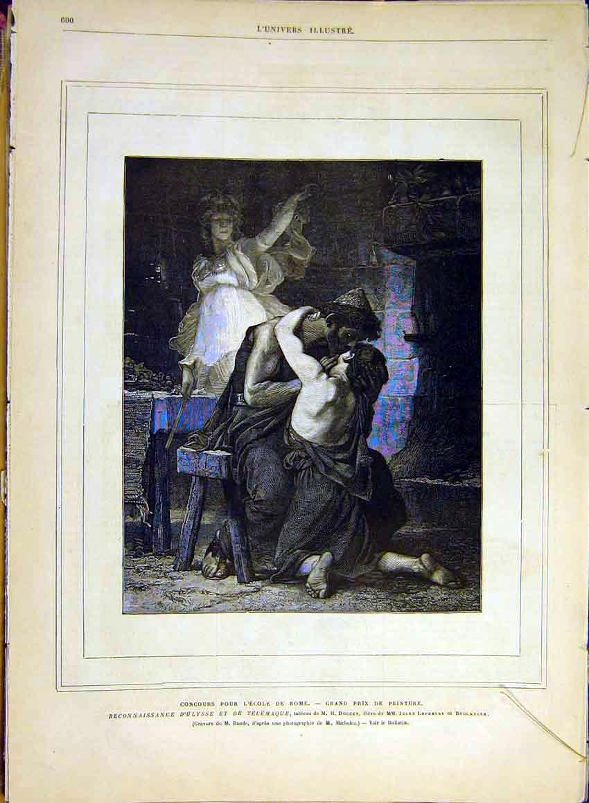 Print School Rome Ulysse Doucet Fine Art French 1880 01Lun1 Old Original