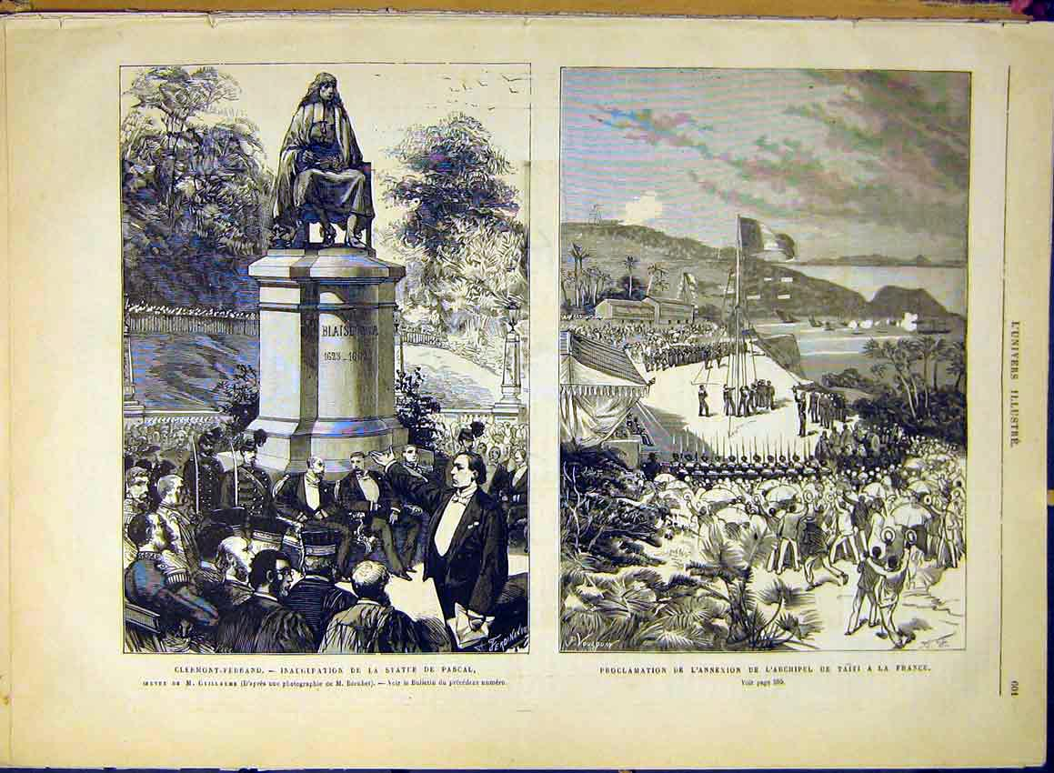Print Statue Pascal Clermont-Ferrand Taihiti France 1880 02Lun1 Old Original