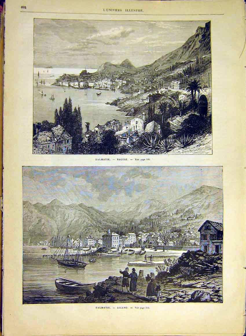 Print Dalmatia Raguse Risano View Town French 1880 04Lun1 Old Original