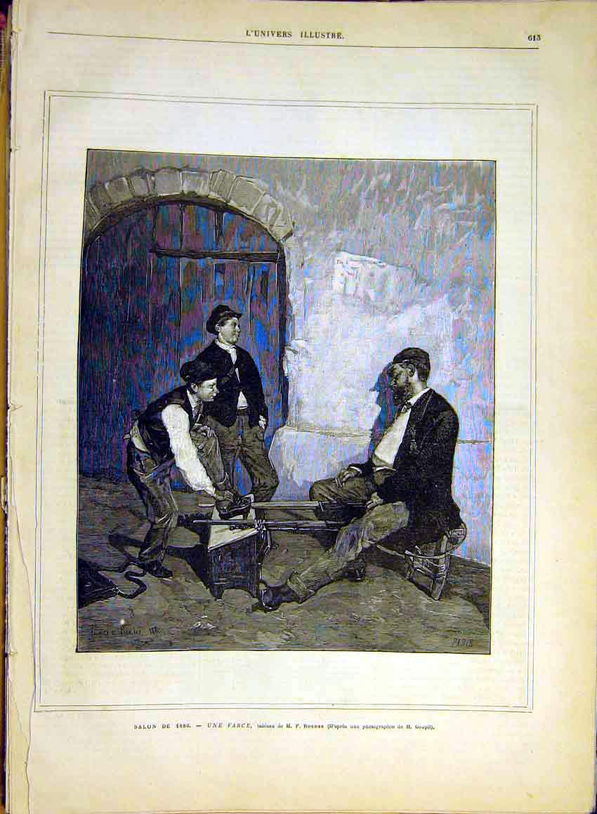 Print Roeder Farce Cripple Wooden-Leg Boys 1880 13Lun1 Old Original