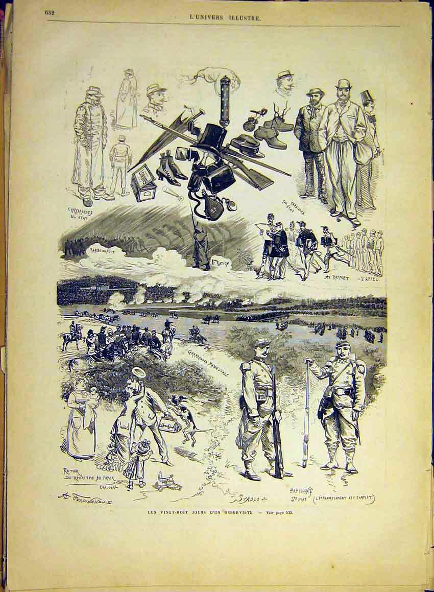 Print Reservists Papillon Army Military Soldiers 1880 32Lun1 Old Original