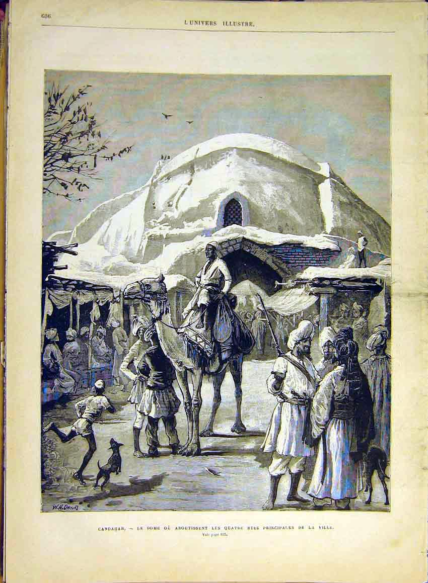 Print Candahar Dome Street People Village French 1880 36Lun1 Old Original