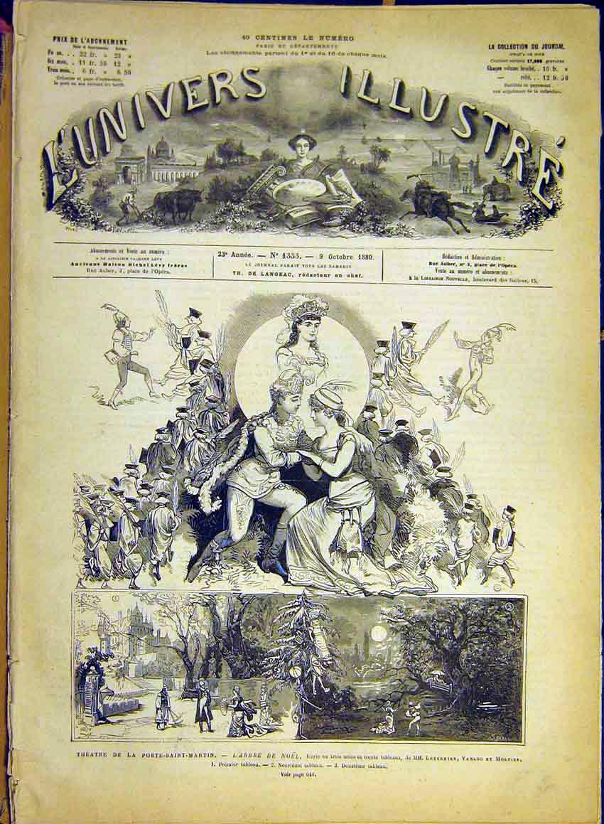 Print Theatre Porte-Saint-Martin Christmas Leterrier 1880 42Lun1 Old Original