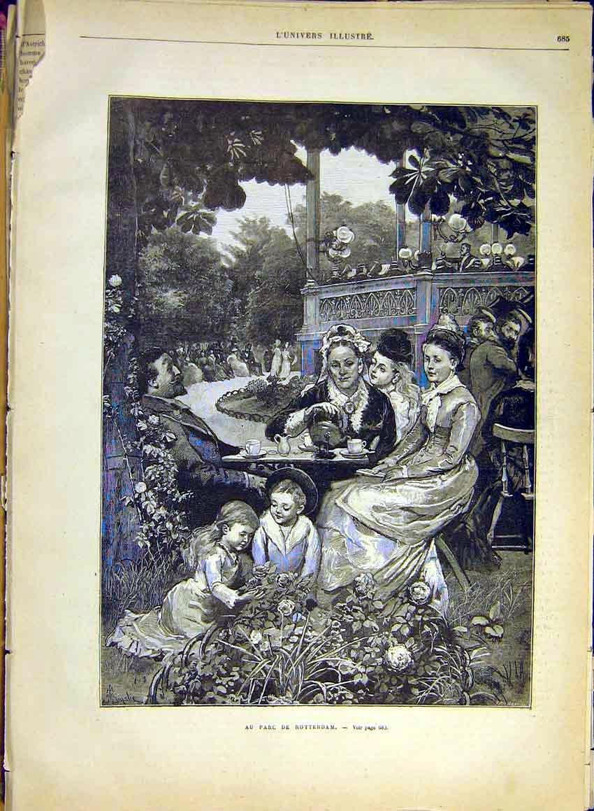 Print Rotterdam Holland Park Tea Family French 1880 85Lun1 Old Original