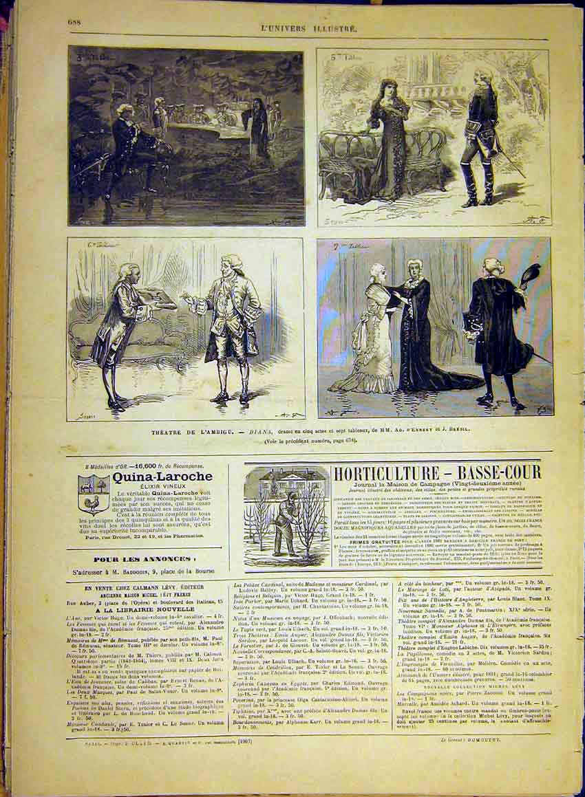 Print Theatre Diana Ennery Bresil Sketches Scenes 1880 88Lun1 Old Original
