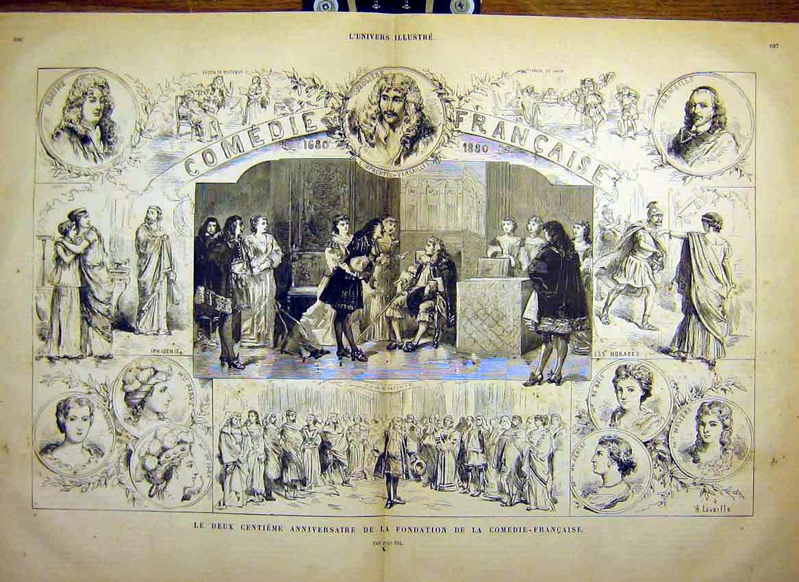 Print Theatre French Comedy Anniversary Sketches 1880 95Tlun1 Old Original