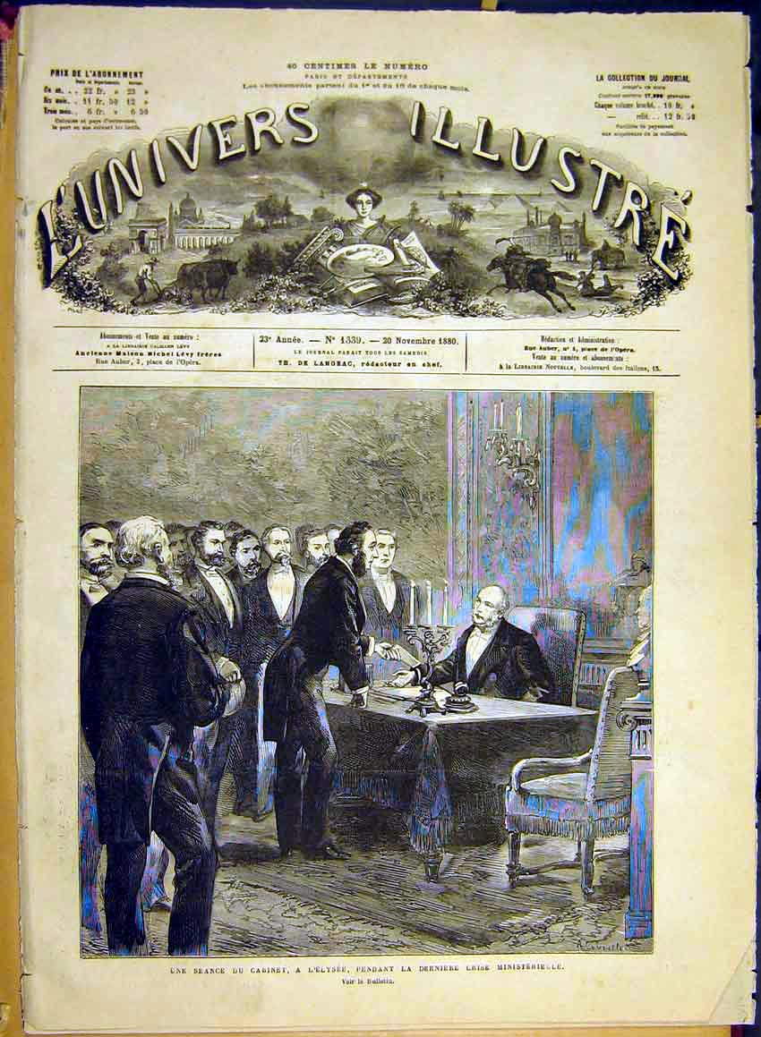 Print Crisis Cabinet Elysee Ministry French 1880 38Lun1 Old Original