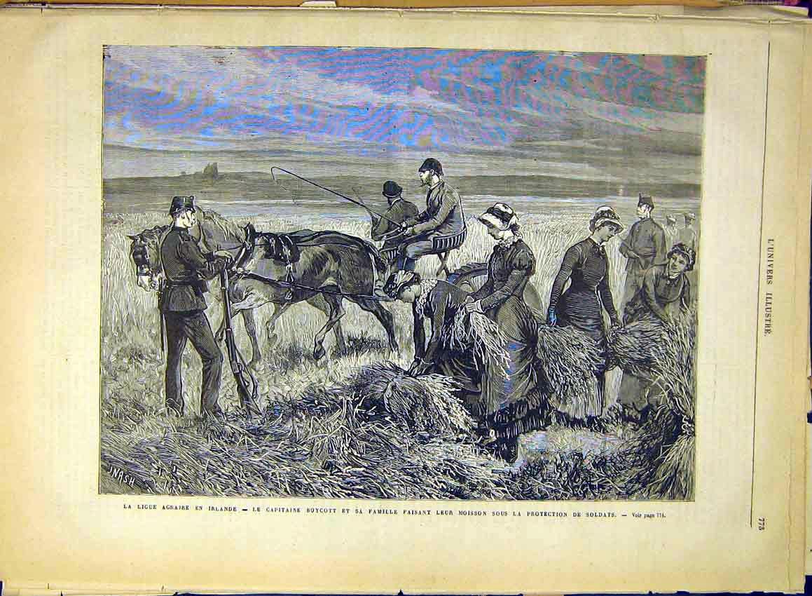 Print Agriculture Ireland Nash Farm Wheat Crop Soldier 1880 73Lun1 Old Original