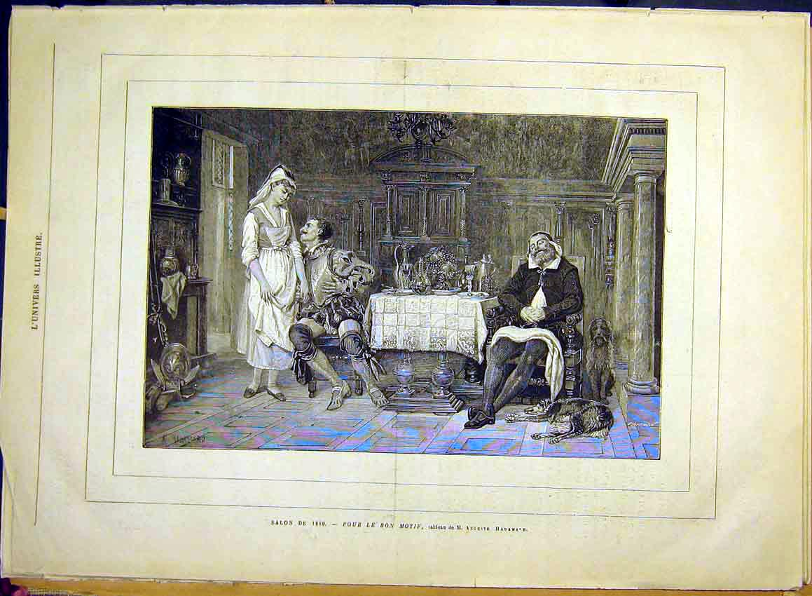 Print Hadamand Fine Art Lady Suitor French 1880 03Lun1 Old Original