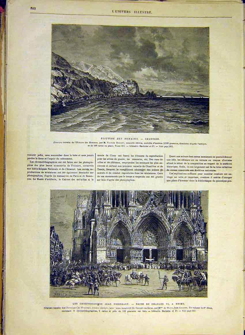 Print Roman History Charybde Duruy Reims Froissart 1880 12Lun1 Old Original